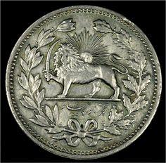 Iran 5000 Dinars, 5 Kran, 1902 ( 1320 ) Silver Coin