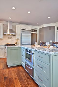 Aloe SW 6464. 2013 color of the year. Color trends. Color scheme. Kitchen. Island. Cabinets. Accent.