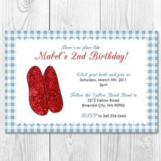 Printable Dorothy Ruby Slippers Invite DIY by LittleAmaraDesigns, $5.00