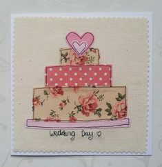 Wedding Cards - Advice For Holding Great Wedding Events Fabric Cards, Fabric Postcards, Paper Cards, Diy Cards, Embroidery Cards, Free Motion Embroidery, Freehand Machine Embroidery, Free Machine Embroidery, Tarjetas Diy