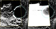 Kandinsky crater lies near Mercury's north pole, and may have hosted water ice. MESSENGER spacecraft's Wide Angle Camera broadband image appears at left, outlined in yellow, and superimposed on an MDIS polar mosaic. The view on the right shows the same image but with the brightness and contrast adjusted to show details of the crater's shadowed floor. Image released Oct. 15, 2014.