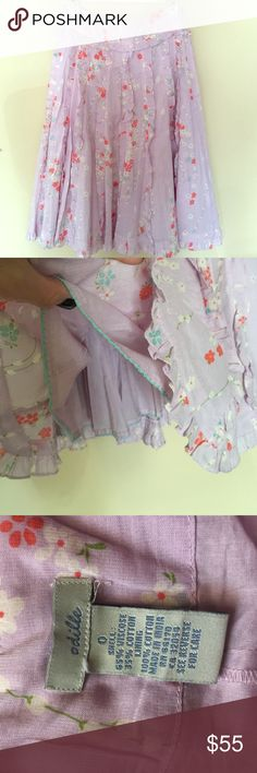 """Anthropologie Ruffle Skirt Super cute. Side zipper. Waist is 26"""" length 25"""". Lined to make it poof or a little Anthropologie Skirts"""