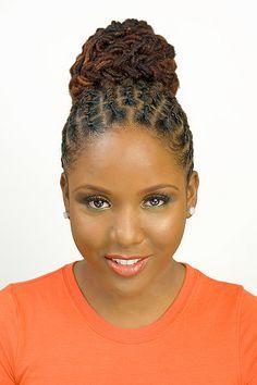 kinky twist hairstyles for black women   Dreadlock twist cute bun hairstyle