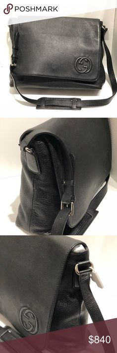 "Authentic Gucci Black Leather Messenger Bag Great bag to wear for work or school.  Has a Flap and GG logo on corner end.  It has a fabric interior and leather exterior.  In great condition.  We ship within 1 business day.  Serendipity has been in business for 23 years selling high end bags, shoes and accessories.  All our items are authenticated before they are put online or in store.  Strap measures 19"" Gucci Bags Crossbody Bags"
