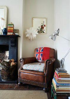 Fireside leather armchair {via @heart Home magazine}