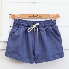 Women' Summer Cotton Shorts Female Plus Size Casual Elastic High Waist – Gifts…