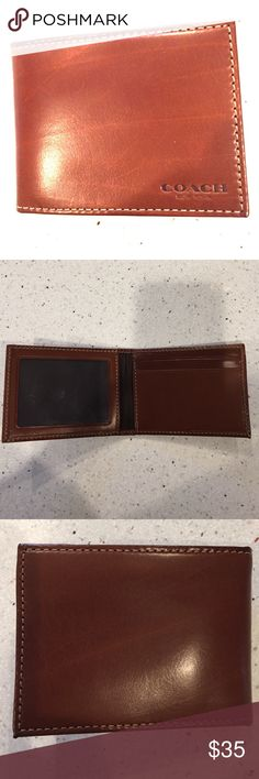 Men's coach bifold wallet insert tan leather never used. Wallet insert (no place for cash, only holds cards and ID) Smaller than my husbands normal wallet (see picture 4 for size comparison). This is 3inchesx4inches and again no cash area. Please see pictures for details and do not hesitate to ask questions. Coach Bags Wallets