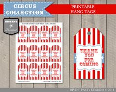INSTANT DOWNLOAD Circus or Carnival Thank You by DivinePartyDesign