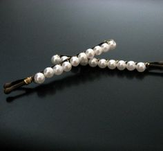mini pearl bobbies bobby pin hair clip by monaco on Etsy (Accessories, Hair, Bobby Pin, beaded, white, pearl, handwired, cleveland, wholesale, romantic, elegant, handmade, bridal, accessory, pearl bobby pin, pearl hair clip)