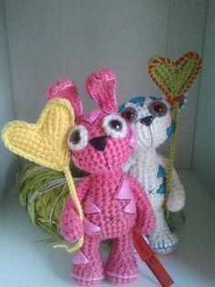 Niebieski misiu z kolezanka :). (Blue teddy bear with friend :). Crochet Teddy, Crochet Bunny, Blue Teddy Bear, Teak, Dinosaur Stuffed Animal, Valentines, Animals, Inspiration, Amigurumi