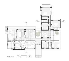 Dos Casas en Lago Ranco,Planta Casa 1 Layouts Casa, House Layouts, Architecture Concept Drawings, Architecture Plan, Modern House Plans, House Floor Plans, 6 Bedroom House Plans, Single Storey House Plans, Cluster House