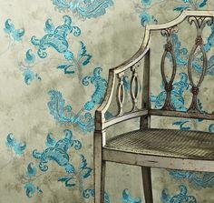 Designer Wallpaper|Barneby Gates|Paisley|Turquoise Close Up.jpg (634×600)
