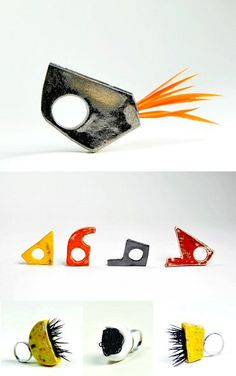 """Quirky and colourful like a flock of tropical birds are these ceramic rings by Slovenian jeweller Hana Karim. They're from her """"fORMINORA"""" collection."""