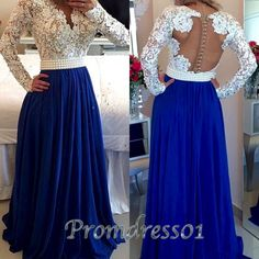 Cute lace top blue chiffon modest prom dress, long prom dress with sleeves