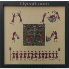 This 10 x 10 inches framed dhokra #painting contain 4 x 4 inches Dhokra panel made from Brass #metal scrap and old wood by Tribal Artisans of Bastar. The beautiful #Dhokra is complemented with elegant #warli #paintings.