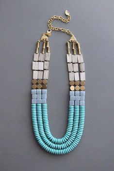 Beaded Jewelry multistrand geometric - triple strand necklace with marble, angelite, magnesite, and brass beads. Old Jewelry, I Love Jewelry, Jewelry Crafts, Jewelry Art, Beaded Jewelry, Jewelery, Fine Jewelry, Handmade Jewelry, Beaded Necklace