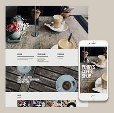 Responsive template for a coffee shop website.