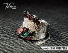 Multistone Diamond Ring White Gold Garnet Ring by BloomDiamonds