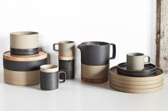 Hasami Japanese Porcelain, love the mix of tan and black, texture and clean lines are amazing