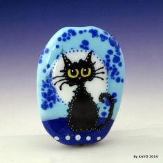 """""""FULL MOON FREDDY"""" byKAYO a Handmade FUZZY CAT Lampwork Art Glass Focal Bead SRA #Lampwork"""