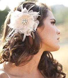 SThe Renee - Organza and Feather Hair Flower $125  from Serephine