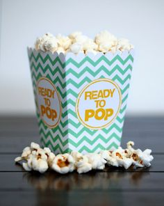 Choose Your Color - Ready to Pop Baby Shower Pregnant Mom Mini Chevron Popcorn Box Party Favor Printable  - DIY Party Favor Pop Corn Box. $4.99, via Etsy.