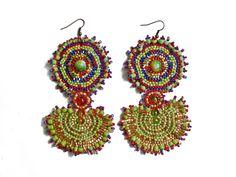 Handmade massive Beaded Earrings Circular Maya di JuliMarBeads
