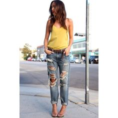 Click the photo to shop the look | Ashley of Ring My Bell wearing a Tibi camisole, Ralph Lauren boyfriend jeans, and Saint Laurent glitter sandals | Follow @liketkit on Pinterest for more outfit inspiration #liketkit