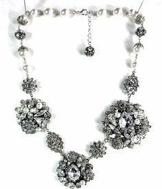 Adoro-Vintage Crystal and Pearl Necklace