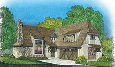 This 3 bedroom Cottage style home features  large two story great room.  House Plan # 291043.