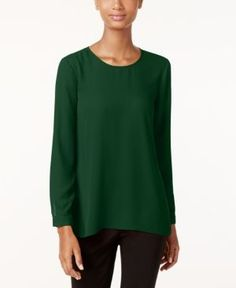 Vince Camuto Pleated-Back High-Low Blouse  - Green XS
