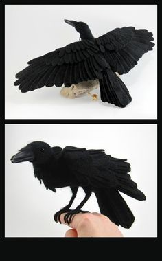 Needle felted raven by GlassCamel. Each feather is an individual bit of wool. And as a cherry on the top the wings are completely posable!