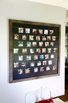 Gorgeous, simple, and easy DIY photo display Diy Home Decor Rustic, Homemade Home Decor, Homemade Gifts, Decor Diy, Diy Photo, Cadre Diy, Display Family Photos, Photo Display Board, Family Pictures