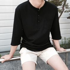 Only the shirt in this one. Not the shorts - June 01 2019 at Basic Outfits, Korean Outfits, Short Outfits, Trendy Outfits, Asian Men Fashion, Boy Fashion, Mens Clothing Styles, Kind Mode, Streetwear