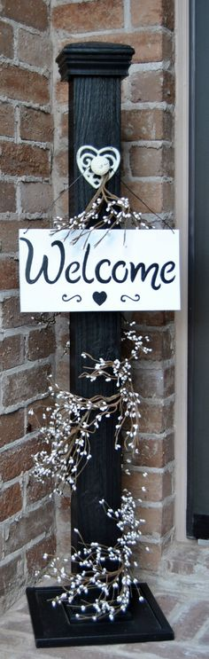 Rustic Sign Post, Rustic Porch Post, Wood Rustic Sign Post, Welcome Sign by KristinasKraftshop on Etsy