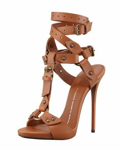 Ankle-Wrap T-Strap Leather High-Heel Sandal, Tan  by Giuseppe Zanotti at Neiman Marcus.