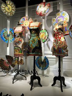 "DOLCE&GABBANA,Saks Fifth Avenue,NY,""Hand-held fan:is an implement used to induce an airflow for the purpose of cooling or refreshing oneself"", pinned by Ton van der Veer"