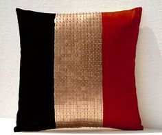 Throw Pillows - Red, black, gold color block in silk sequin detail cushion - sequin pillow - 16X16 Color block pillow - gift pillow