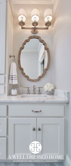 Bathroom With Neutral Paint Color White Marble Countertop Shower Tile And French Grey Mirror Willow Homes