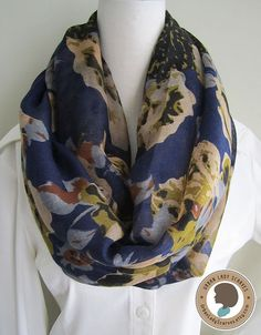 Yellow flowers on dark blue romantic Soft by UrbanLadyScarves