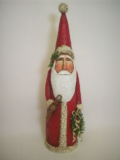 Primitive Paper Mache Tall Red Folk Art Santa with Candycanes and Wreath