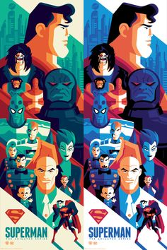 SUPERMAN THE ANIMATED SERIES limited edition screenprints / regular and variant editions / available from at this week's / booth 2160 / october Mundo Superman, Superman Art, Superhero Characters, Comic Book Characters, Comic Books, Dc Comics Art, Batman Comics, Superman The Animated Series, Tom Whalen