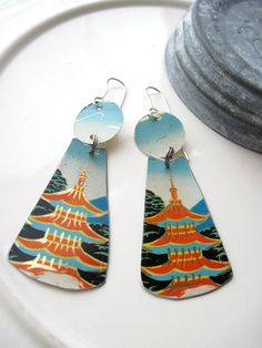 Orange Pagoda Tin Earrings-Tea Tin Earrings by eaststreettins