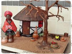African Village - Cake by Angelic Cakes By Sarah Nigerian Traditional Wedding, Traditional Wedding Cakes, Traditional Cakes, African Wedding Cakes, African Weddings, Africa Cake, Safari Theme Birthday, African Theme, Food Artists
