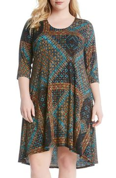 Free shipping and returns on Karen Kane 'Maggie - Tile Mosaic' Print Trapeze Dress (Plus Size) at Nordstrom.com. A vibrant print updates a favorite jersey dress in a swingy trapeze silhouette that's effortlessly chic and endlessly comfortable.