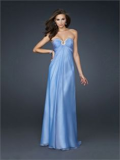 Strapless Chiffon With Sweetheart outlined Beaded and Pleatede Prom Dress PD10853