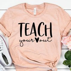 Teacher Outfit Teach Your Heart Out Shirt - Teacher Shirts - Teacher Gift - Valentines Day - Teacher Team - Teaching Valentine - Unisex Graphic Tee Teach Your Heart Out Shirt Teacher Shirts Teacher Gift Team Teaching, Teaching Shirts, Teaching Outfits, Teacher T Shirts, Teacher Clothes, School T Shirts, T Shirts For Teachers, Kindergarten Teacher Shirts, Teacher Shoes