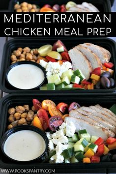 Mediterranean chicken meal prep bowls are a tasty way to stay on track and eat a nutritious, flavorful lunch.  #mealprep #mediterraneandiet #mediterraneanmealprep Lunch Meal Prep, Meal Prep Bowls, Healthy Meal Prep, Healthy Eating, Healthy Recipes, Lunch Time, Salad Recipes, Lunch Box, Easy Mediterranean Diet Recipes