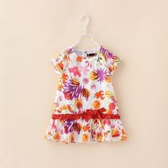 00094 TJ-7J111 Free shipping 6 pcs/lot Wholesale Children's summer short sleeve flower dress in Europe and America http://www.aliexpress.com/store/1047972
