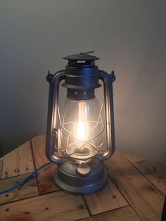 Amazing Gunmetal Steel Lantern Lamp Electric Railroad By RecycledRevival